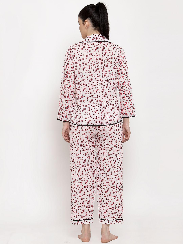 Secret Wish Women's White-Red Cotton Printed Nightsuit