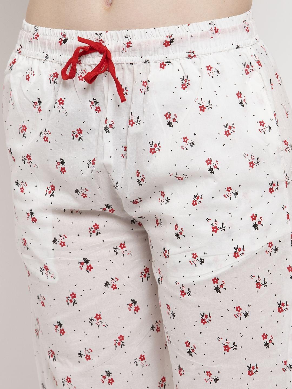 Secret Wish Women's White Cotton Printed Nightsuit