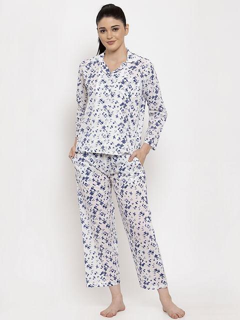 Secret Wish Women's White-Blue Cotton Printed Nightsuit