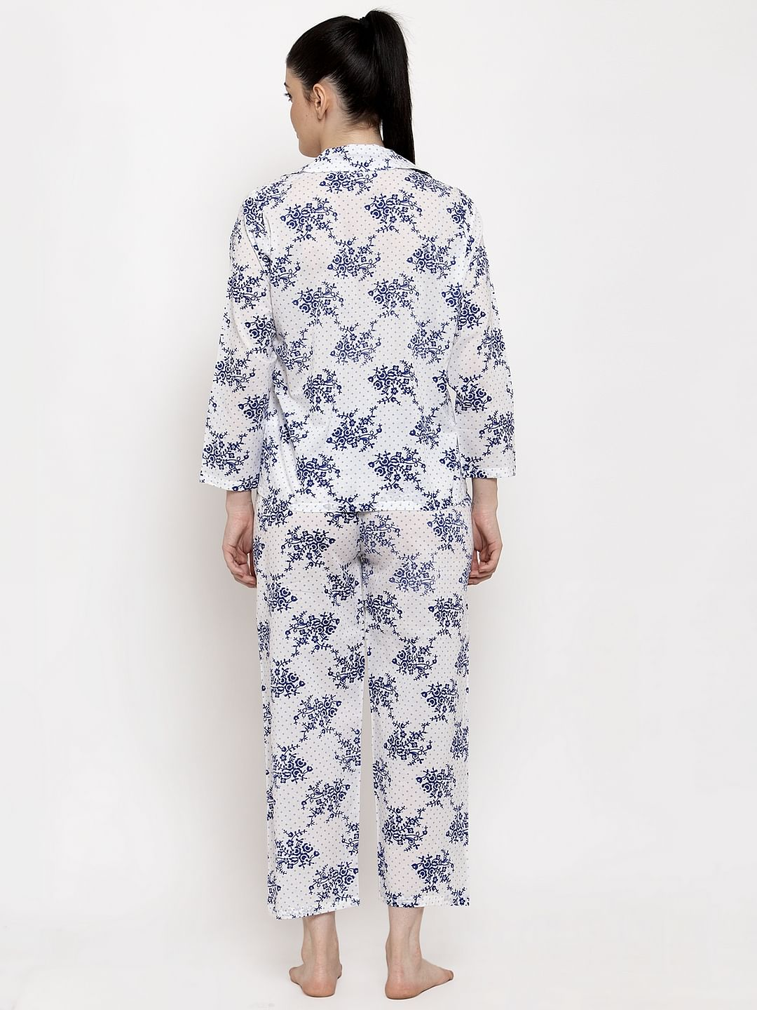 Secret Wish Women's White-Blue Cotton Floral Print Nightsuit