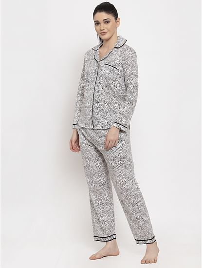 Secret Wish Women's Grey Cotton Printed Nightsuit