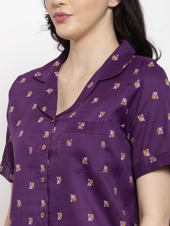 Secret Wish Women's Purple Cotton Printed Nightsuit