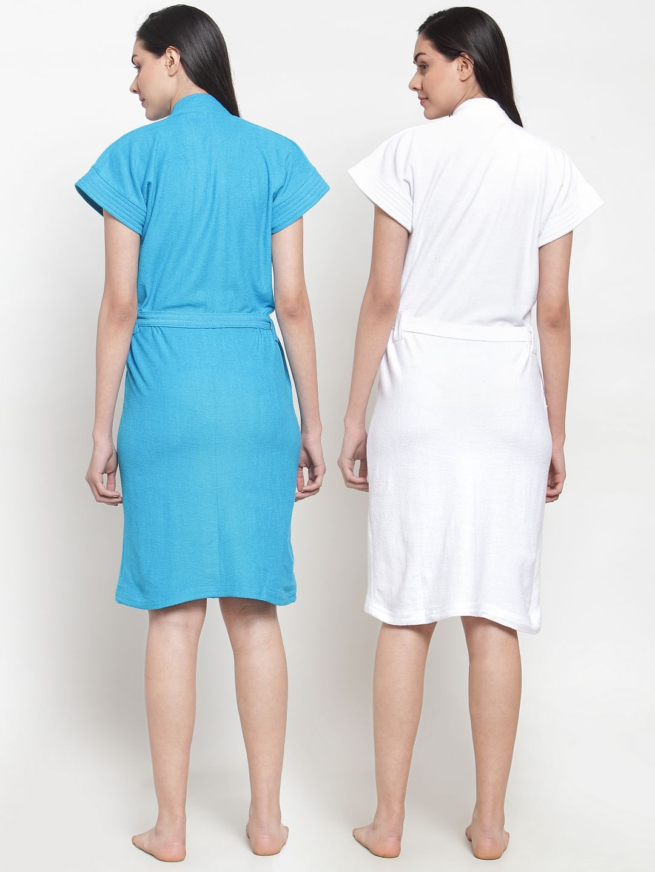 Secret Wish Women's Cotton Solid Bathrobe (Multicolored,Free Size - Pack of 2)