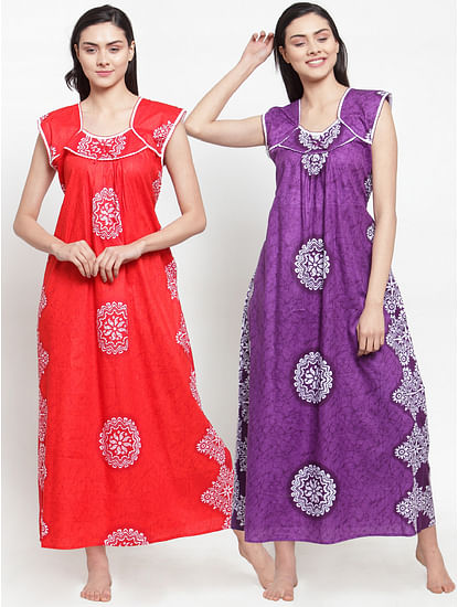 Secret Wish Women's Cotton Printed Nighty (Multicolored,Free Size - Pack of 2)