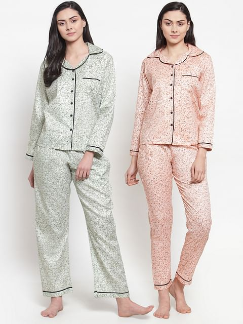 Secret Wish Women's Cotton Printed Nightsuit (Multicolored,Free Size - Pack of 2)