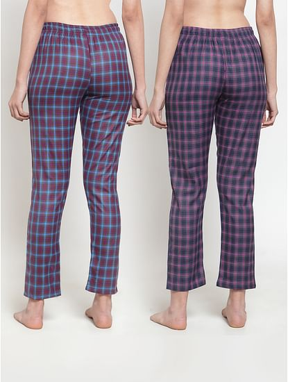 Secret Wish Women's Cotton Checkered Pyjama (Multicolored,Free Size - Pack of 2)