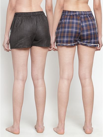 Secret Wish Women's Cotton Checkered Shorts (Multicolored,Free Size - Pack of 2)