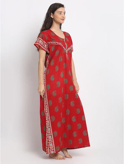 Secret Wish Women's Red Maternity Cotton  Nighty(Free Size)