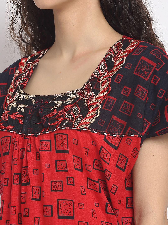 Secret Wish Women's Red Printed Cotton Nighty (Free Size)