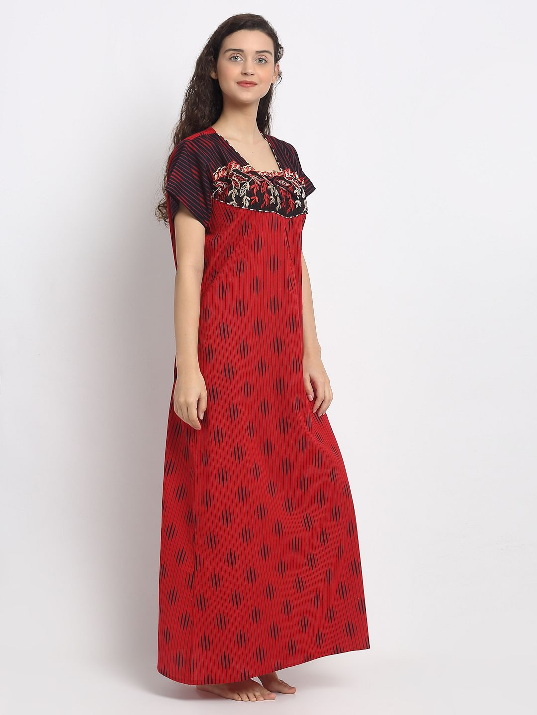 Secret Wish Women's Red Cotton Nighty (Free Size)