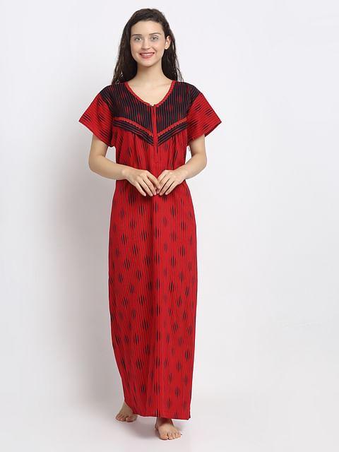 Secret Wish Women's Red Maternity Nighty(Free Size)
