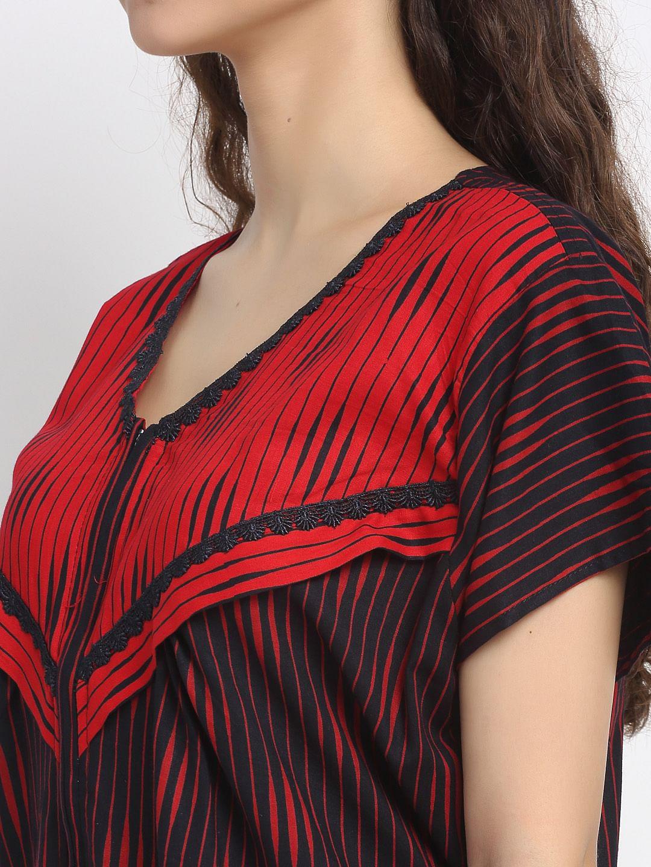 Secret Wish Women's Black Printed Cotton Maternity Nighty (Free Size)