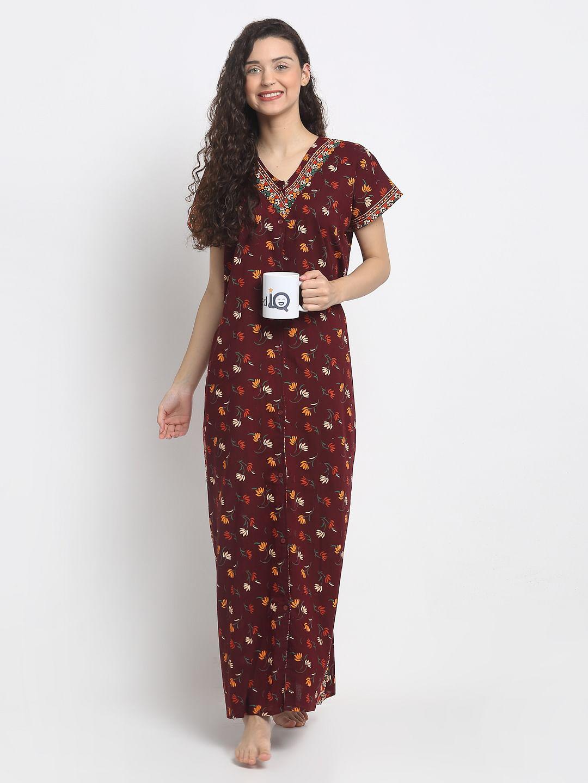 Secret Wish Women's Maroon Printed Cotton Nighty (Free Size)