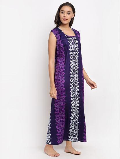Secret Wish Women's Purple Printed Cotton Nighty (Free Size)