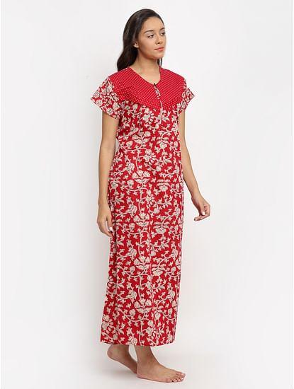 Secret Wish Women's Red Printed Cotton Maternity Nighty (Free Size)