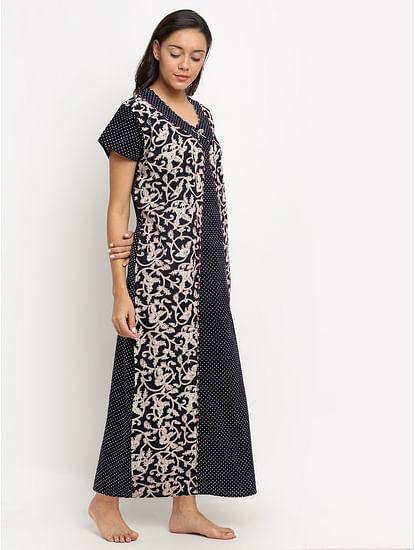 Secret Wish Women's Black Printed Cotton Nighty (Free Size)