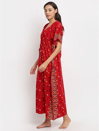 Secret Wish Women's Red Printed Cotton Kaftaan (Free Size)