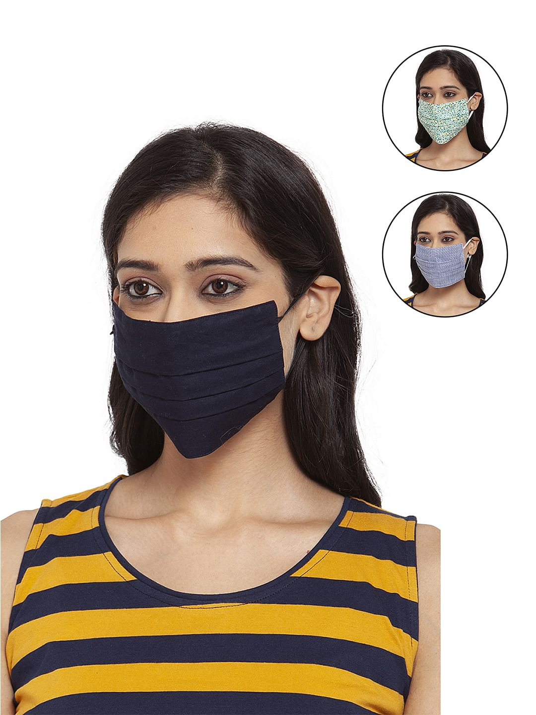 Secret Wish Unisex 3-Layer Adjustable & Stretchable Protective Mask with Ear Loops - Size L - Set of 3