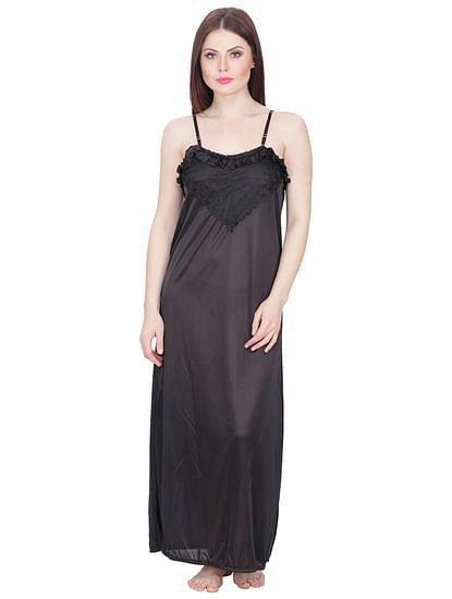 Secret Wish Women's Black Maxi Nightdress with Robe