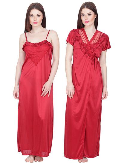 Secret Wish Women's Red Maxi Nightdress with Robe