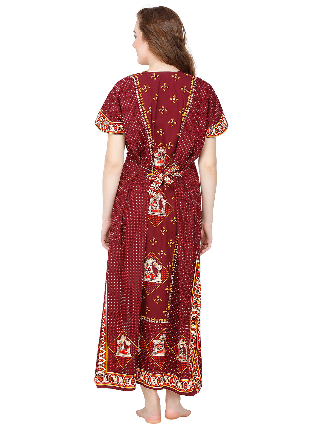 Secret Wish Cotton Maroon Nighty, Nightdress