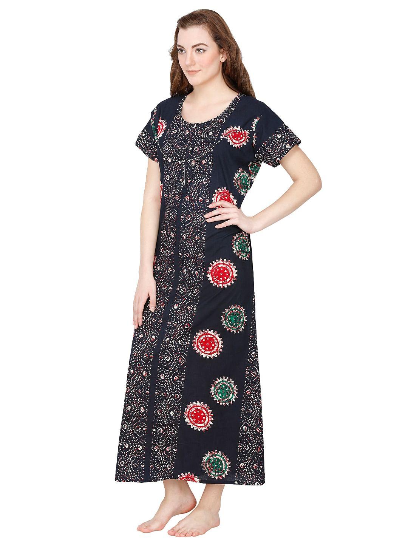 Secret Wish Women's Navy Cotton Printed Maxi Nightdress