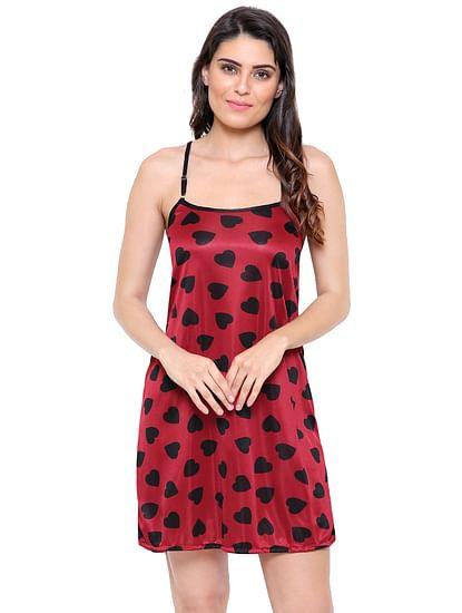 Secret Wish Women's Satin Wine_Red Babydoll Lingerie Nightwear (Free Size)