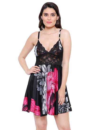 Secret Wish Women's Satin Pink Babydoll Lingerie Nightwear (Free Size)