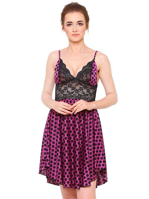 Secret Wish Women's Purple Satin Babydoll