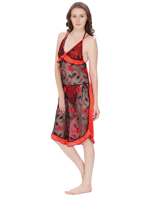Secret Wish Women's Net, Satin Red Babydoll (Red, Free Size)