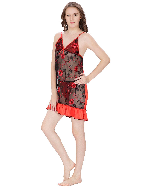 Secret Wish Women's Net, Satin Red Robe (Red, Free Size)