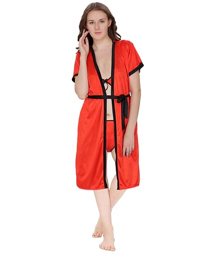 Secret Wish Women's Satin Red Robe (Red, Free Size)