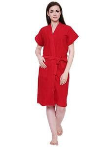 Secret Wish Women's Cherry-Red Towel Bathrobe