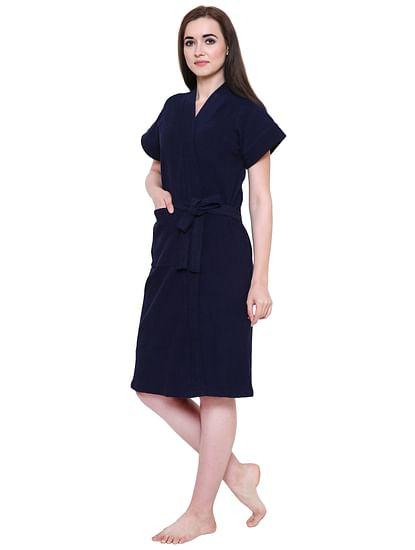 Secret Wish Women's Navy-Blue Towel Bathrobe