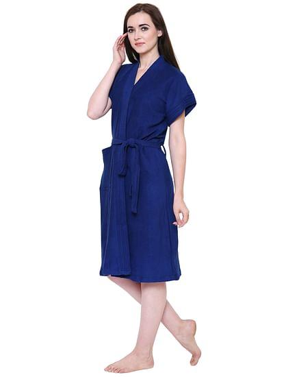 Secret Wish Women's Dark-Blue Towel Bathrobe