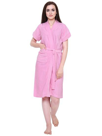 Secret Wish Women's Light-Pink Towel Bathrobe