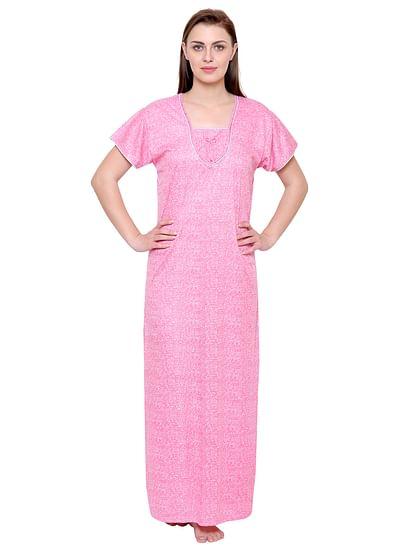 Secret Wish Women's Light Pink Hosiery Printed Nightdress