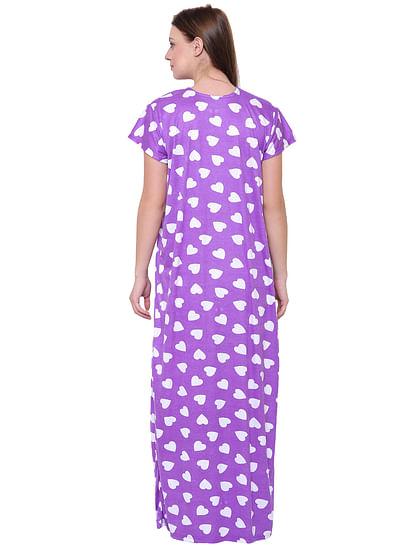 Secret Wish Women's Purple Hosiery Printed Nightdress