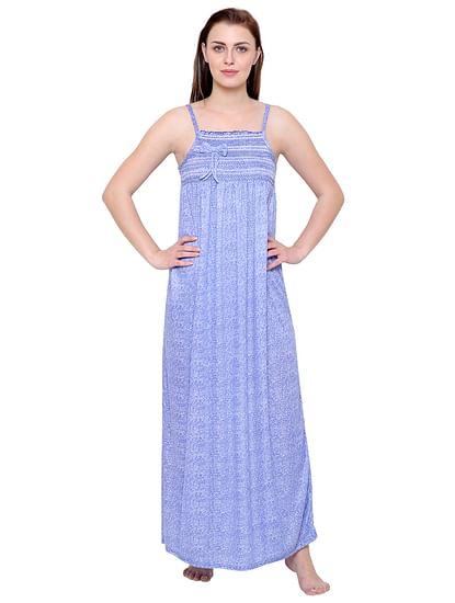Secret Wish Women's Hosiery Blue Printed Nighty (Free Size)
