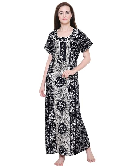 Secret Wish Women's Black-Off-White Cotton Printed Nightdress