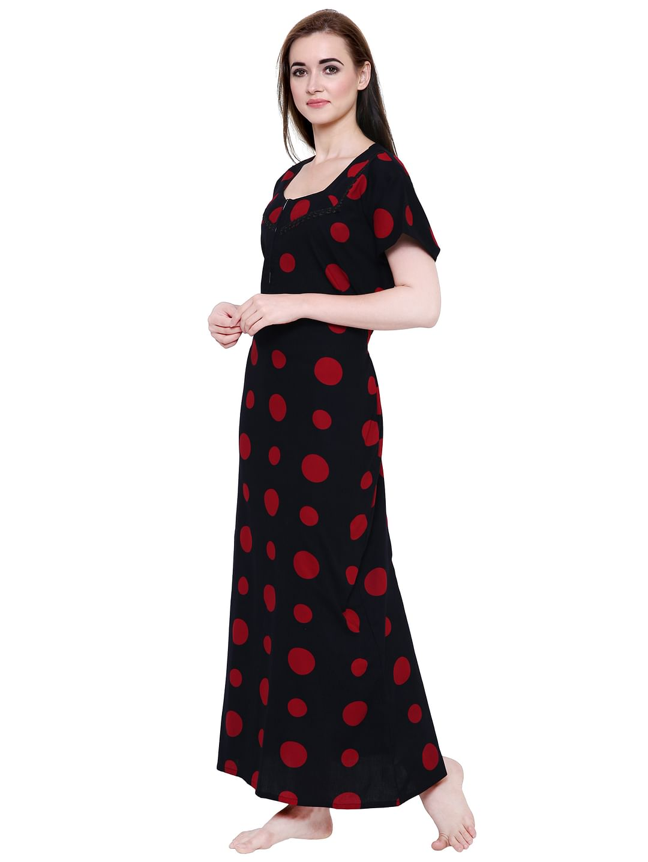 Secret Wish Women's Black-Red Cotton Printed Nightdress