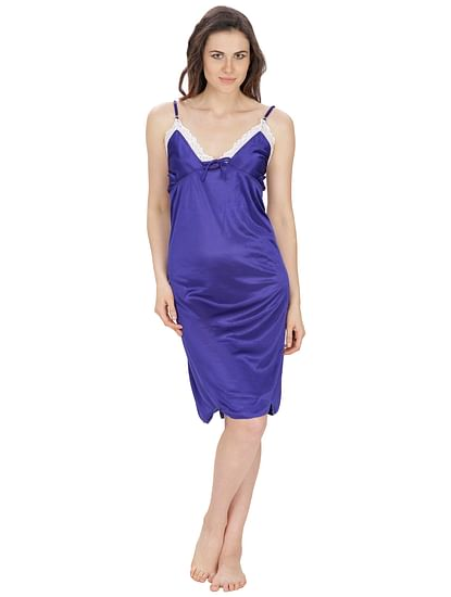 Secret Wish Women's Satin Royal Blue Babydoll (Royal Blue, Free Size)