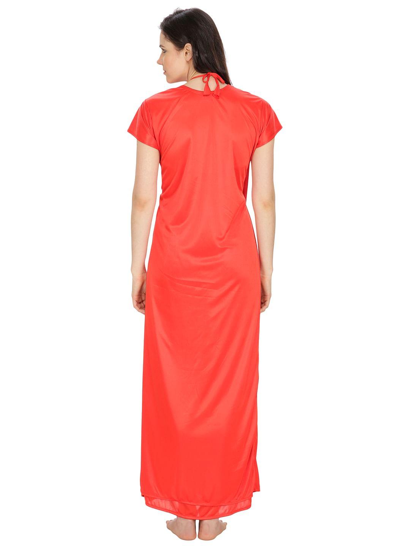 Secret Wish Women's Satin, Net Red Robe, Nighty (Red, Free Size)