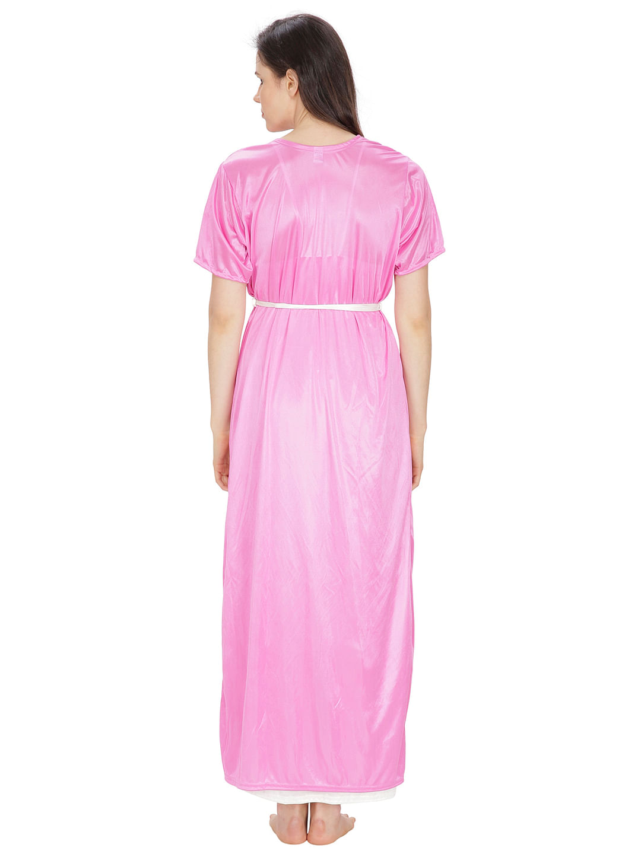 Secret Wish Women's Satin Pink, White Robe, Nighty (Pink, White, Free Size)