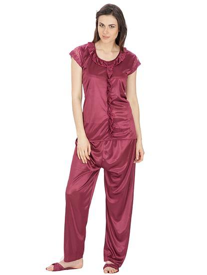 Secret Wish Women's Satin Wine Red Nightsuit Set with Slippers (Dark Purple, Free Size)
