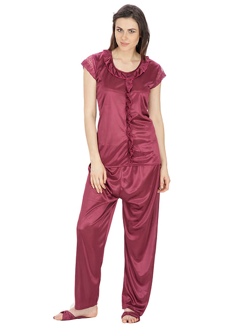Secret Wish Women's Satin Wine Red Nightsuit Set with Slippers (Dark Purple, Free Size)