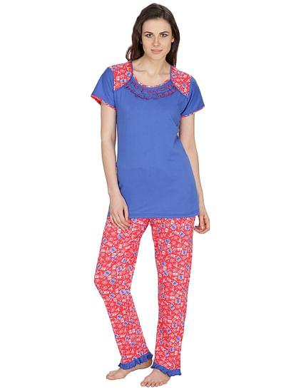 Secret Wish Women's Hosiery Blue, Pink Nightsuit Set (Blue, Pink, Free Size)