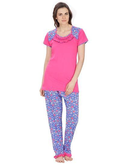 Secret Wish Women's Hosiery Pink, Blue Nightsuit Set (Pink, Blue, Free Size)