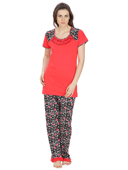 Secret Wish Women's Hosiery Red, Black Nightsuit Set (Red, Black, Free Size)