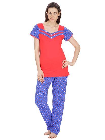 Secret Wish Women's Hosiery Red, Blue Nightsuit Set (Red, Blue, Free Size)